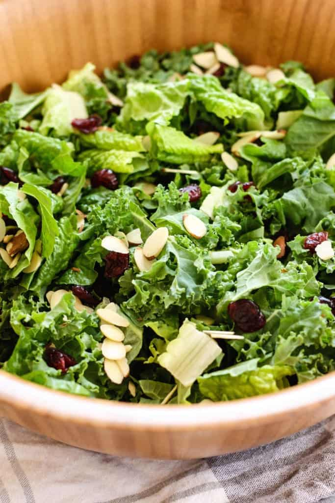 Kale and Romaine Cranberry Almond Salad close up