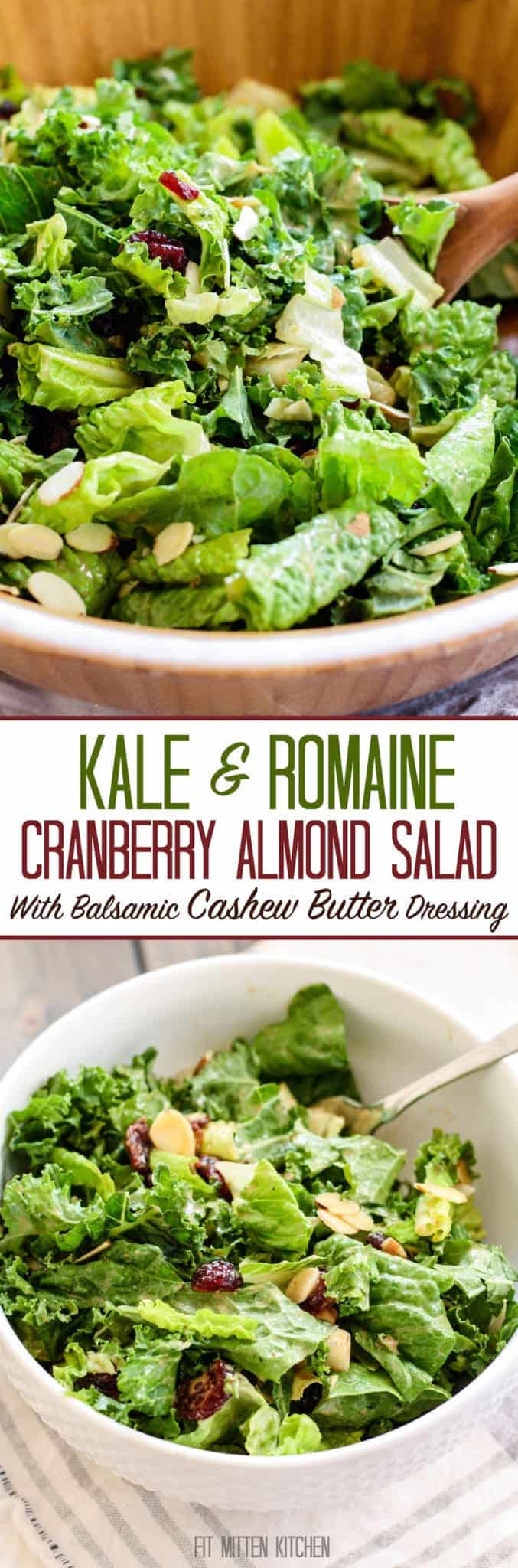 Kale and Romaine Cranberry Almond Salad
