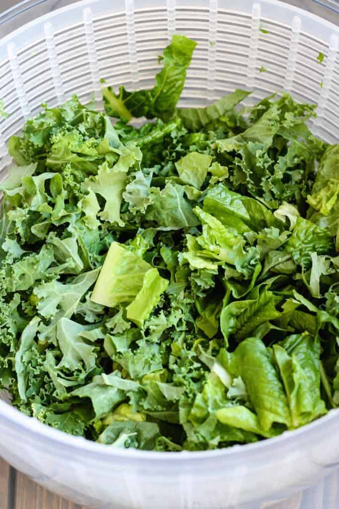 Kale and Romaine for Cranberry Almond Salad.