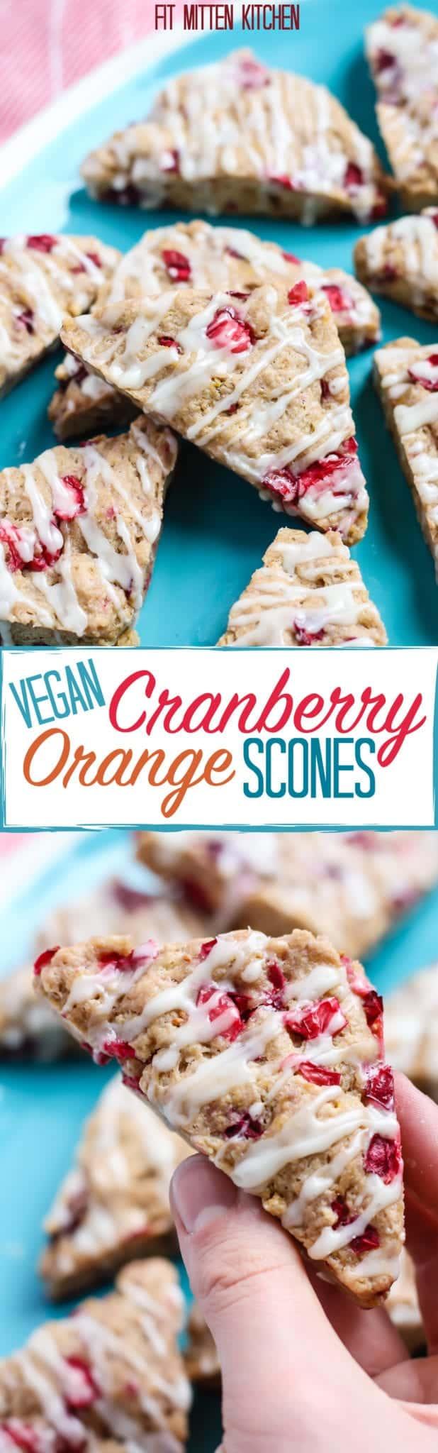 Vegan Cranberry Orange Scones on turquoise plate
