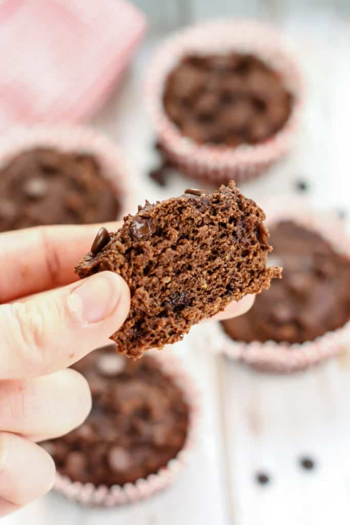 These Triple Chocolate Avocado Muffins are going to be your new healthy favorite! Made with coconut flour, avocado, and dairy-free chocolate chips, these muffins are gluten-free and paleo-friendly. These muffins only have 6 grams of fat, plus 4 grams of protein and 5 grams of fiber to help keep you satisfied.