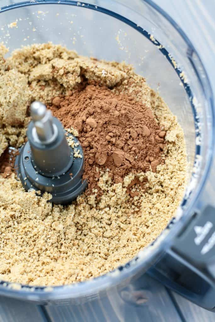 Chocolate Coconut Sunflower Seed Butter ingredients in food processor