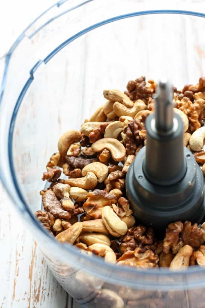 Nut and fruit mixture for Ginger Berry Energy Balls in food processor
