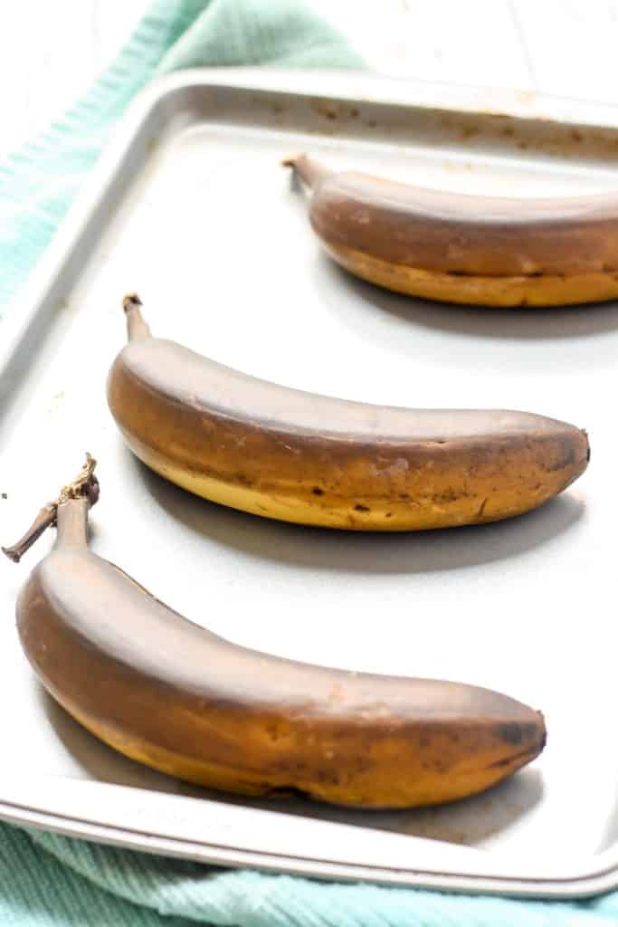 Oven browned bananas on baking sheet