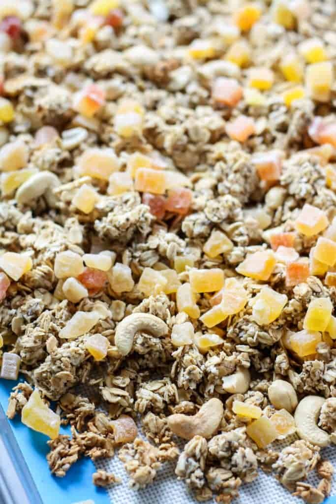 Tropical Granola on baking sheet