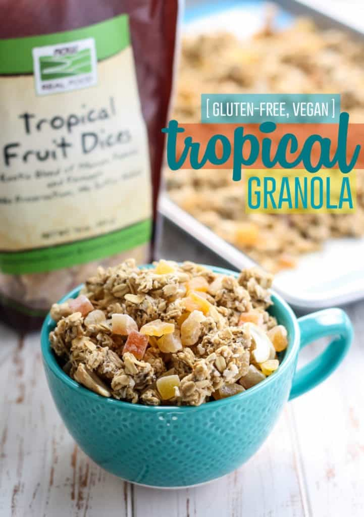 Now Tropical Fruit Dices used in Tropical Granola in a teal mug