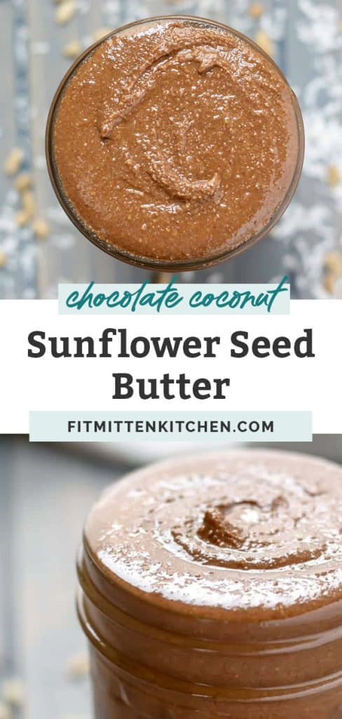 chocolate coconut sunflower seed butter in a mason jar on counter top