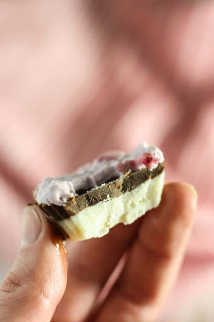Close up of Neapolitan Coconut Butter Cups