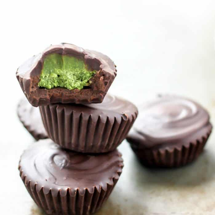 dark chocolate matcha cups in stack