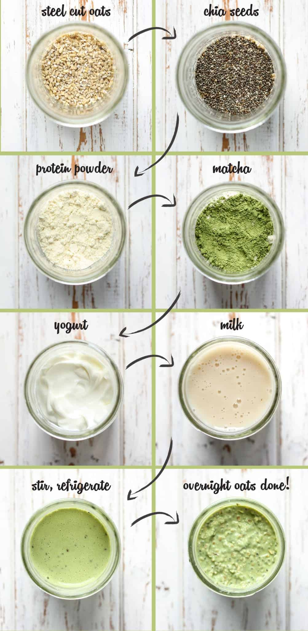 Matcha Overnight Oats Steps