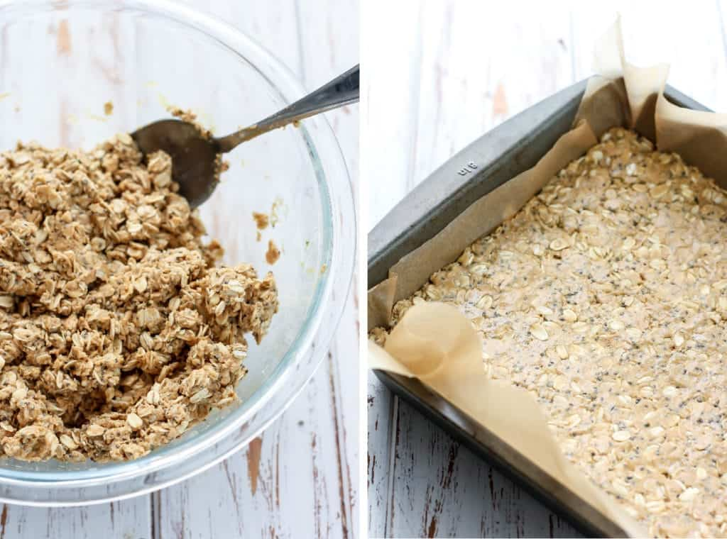 Oat mixture in clear bowl and pan for Oatmeal Peanut Butter Bars
