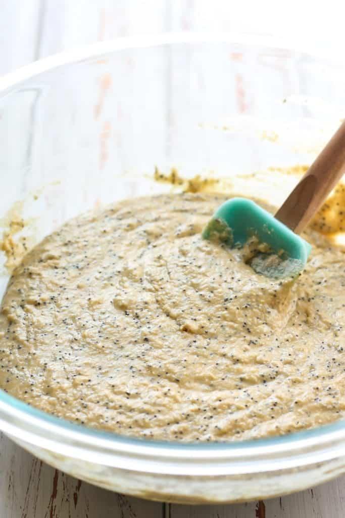 Batter for Whole Grain Lemon Poppy Seed Muffins