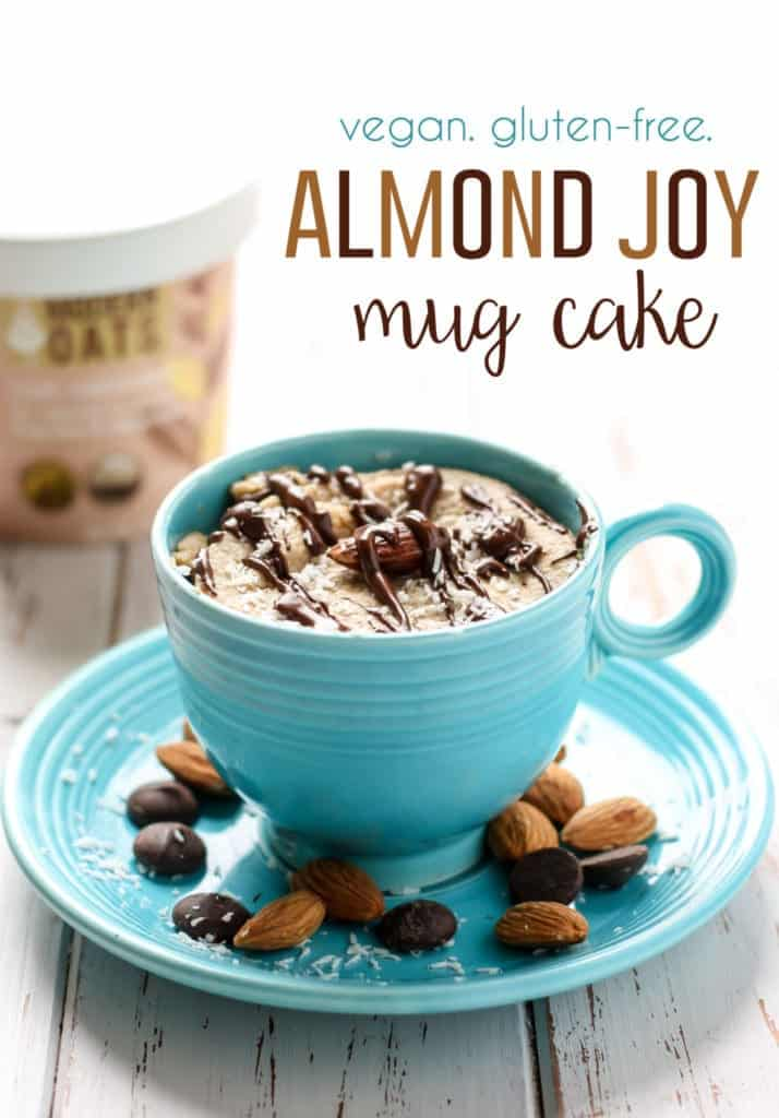 Almond Joy Mug Cake in turquoise tea cup on top of saucer