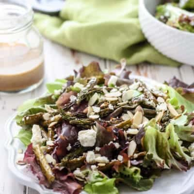 Roasted Asparagus Salad with Balsamic Almond Dressing
