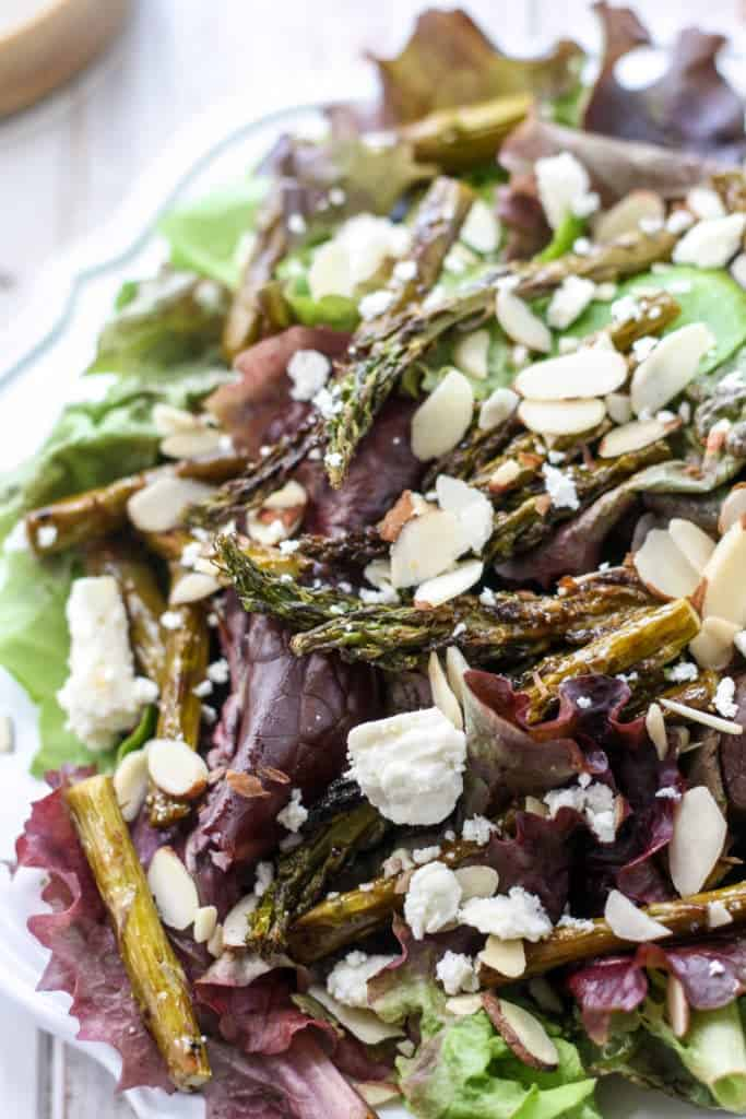 roasted asparagus salad with feta sliced almonds and balsamic vinegar
