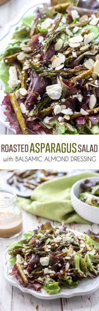 This Roasted Asparagus Salad is simple to throw together and ready in under 30 minutes! Toss with a homemade balsamic almond dressing for a seriously impressive dish.