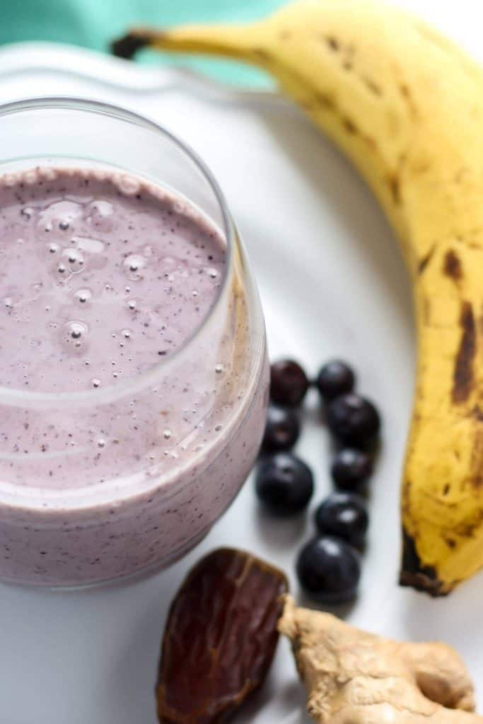 Ginger Blueberry Banana Date Smoothie in glass
