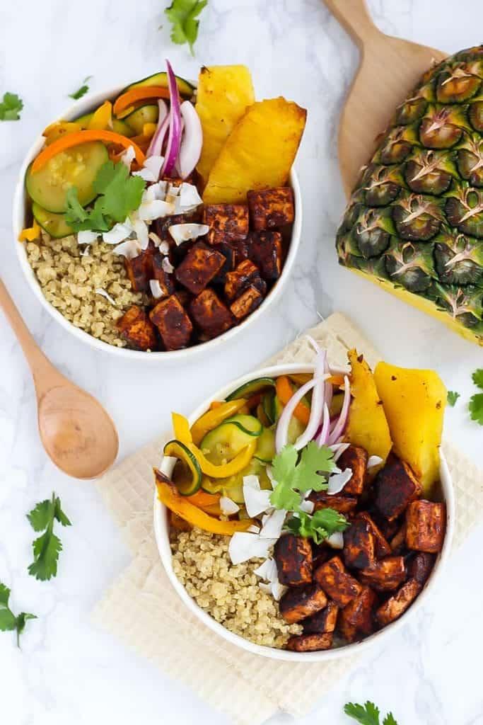 Vegan Hawaiian BBQ Tofu Bowls in white bowls