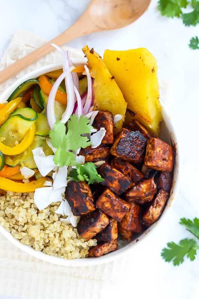 Vegan Hawaiian BBQ Tofu Bowls