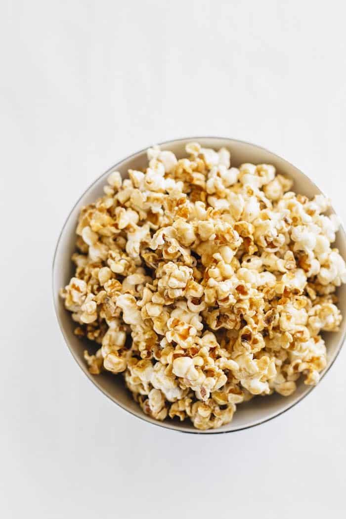 Homemade Healthier Salted Caramel Popcorn