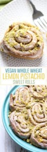Vegan Whole Wheat Lemon Pistachio Sweet Rolls. Bursting with lemon flavor and topped with crushed pistachios.