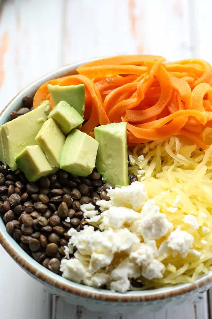 This Lentil Spaghetti Squash Breakfast Bowl is a great way to change up your morning routine. Filled with complex carbs, healthy fats, fiber, and protein to keep you satisfied for hours.