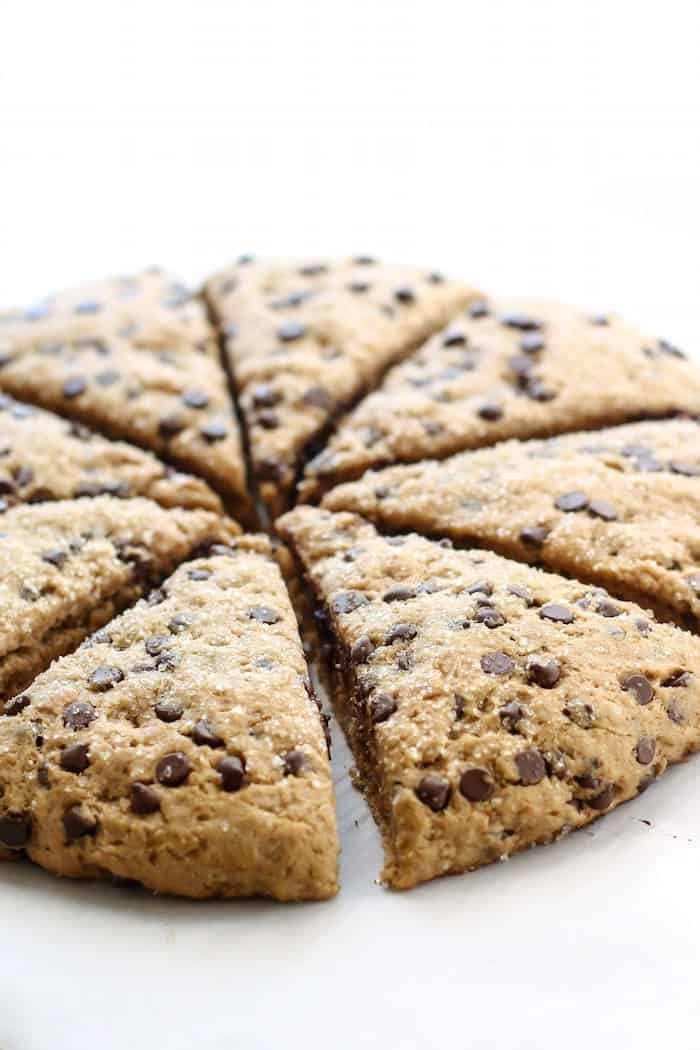 view of vegan whole wheat chocolate chip scones cut into triangles