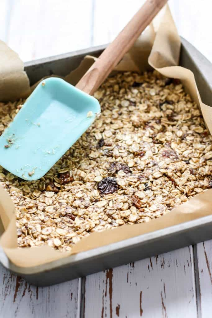 golden berry granola in baking pan
