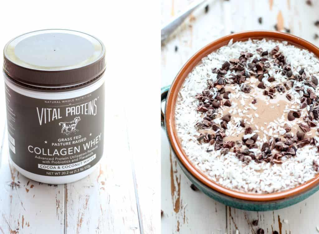 Chocolate Coconut Collagen Protein Smoothie Bowl