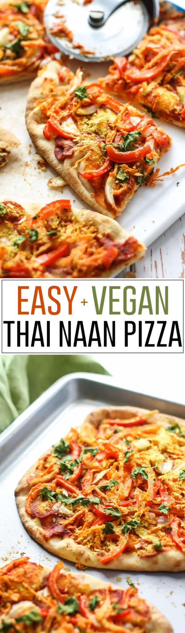 easy vegan thai naan pizza on baking sheet pinterest image