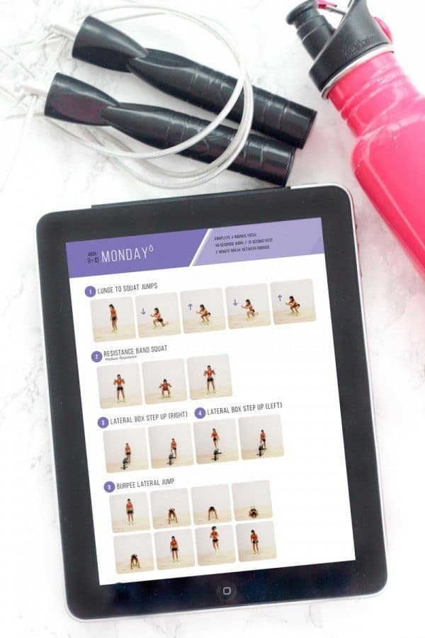 sweat series ebook on ipad with jump rope and pink water bottle