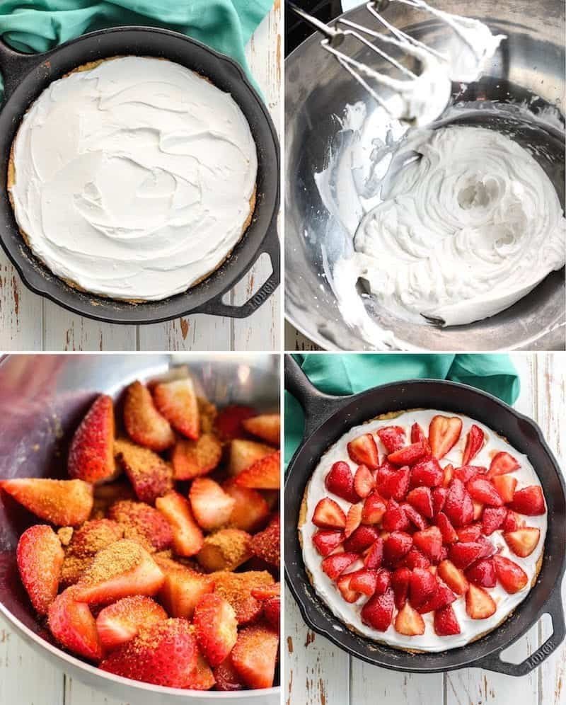 step by step strawberry shortcake in skillets