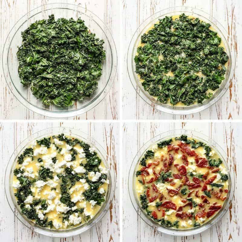 This Kale, Goat Cheese & Sun-Dried Tomato Egg Bake needs to be on your brunch menu!