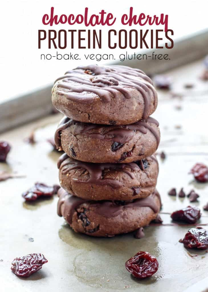 No-Bake Chocolate Cherry Protein Cookies pinterest image