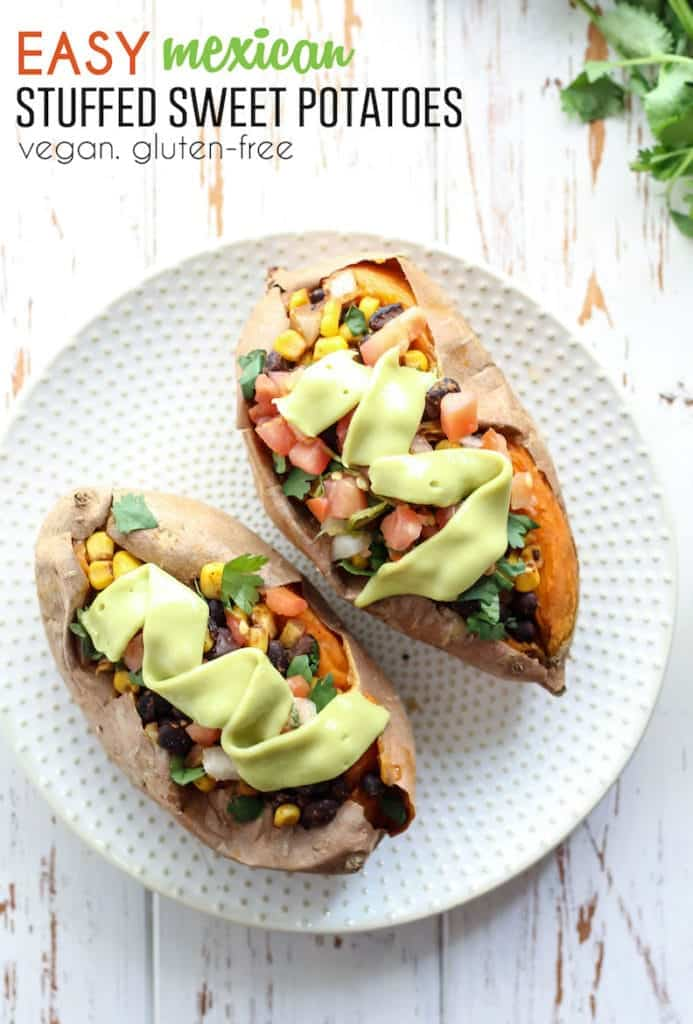 Easy Mexican Stuffed Sweet Potatoes. Vegan, gluten-free, and perfect for barbecues.