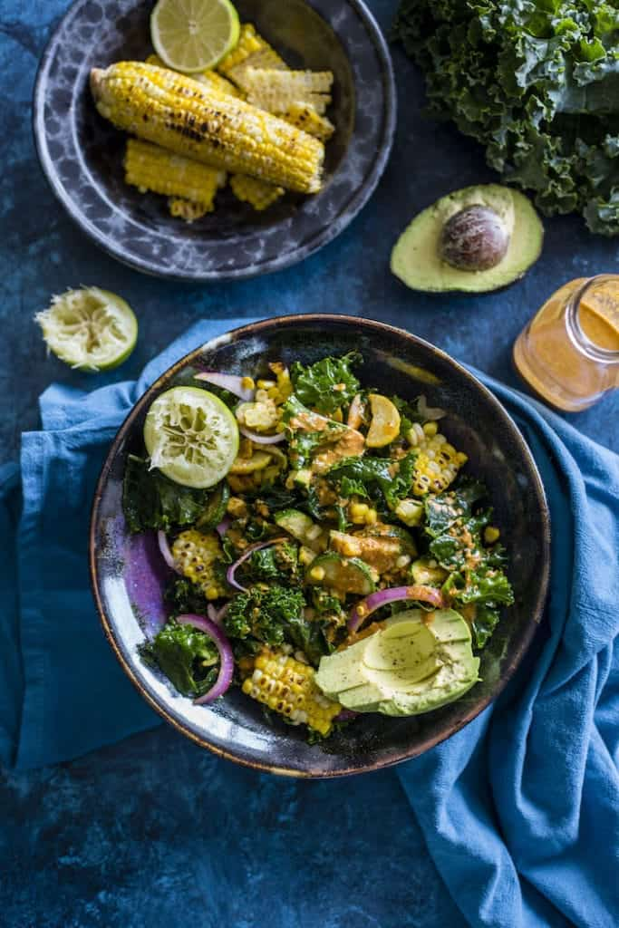 Grilled Corn Kale Salad -- The Almond Eater