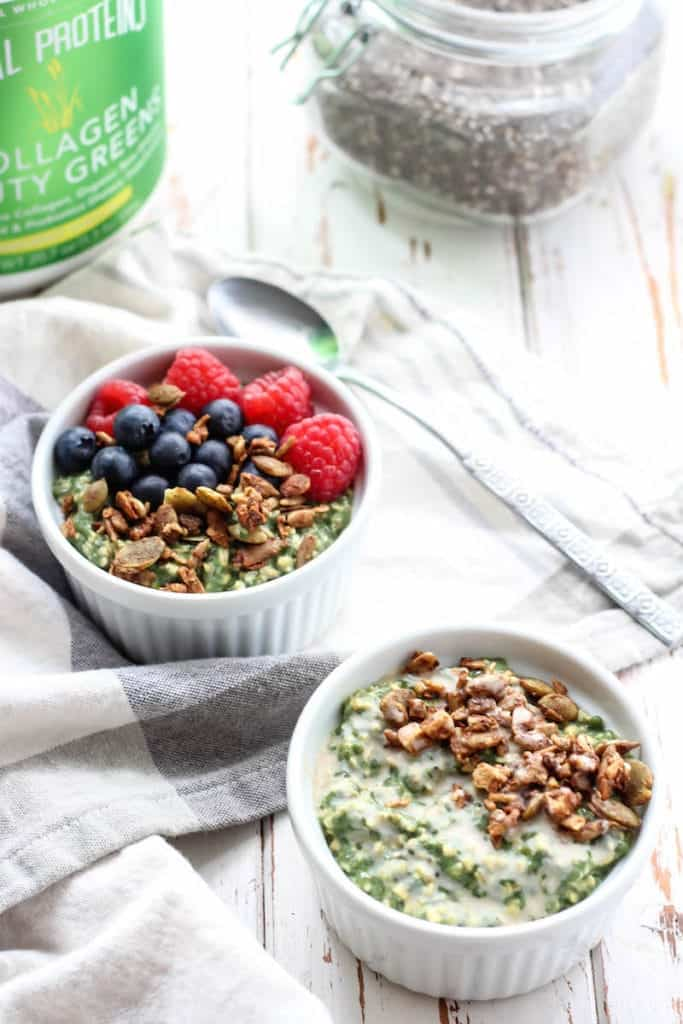Green Goddess Overnight Oats with collagen peptides in white bowls on white and gray towel