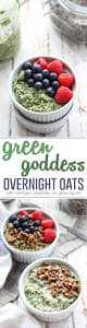 This breakfast will leave you feeling glowing from the inside out! Green Goddess Overnight Oats with collagen peptides for healthy skin.
