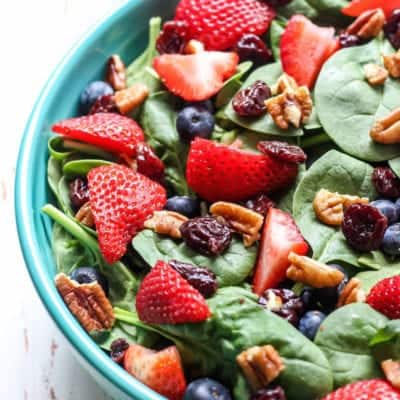 Summer Berry Spinach Salad with Easy Strawberry Vinaigrette [ vegan, paleo ]