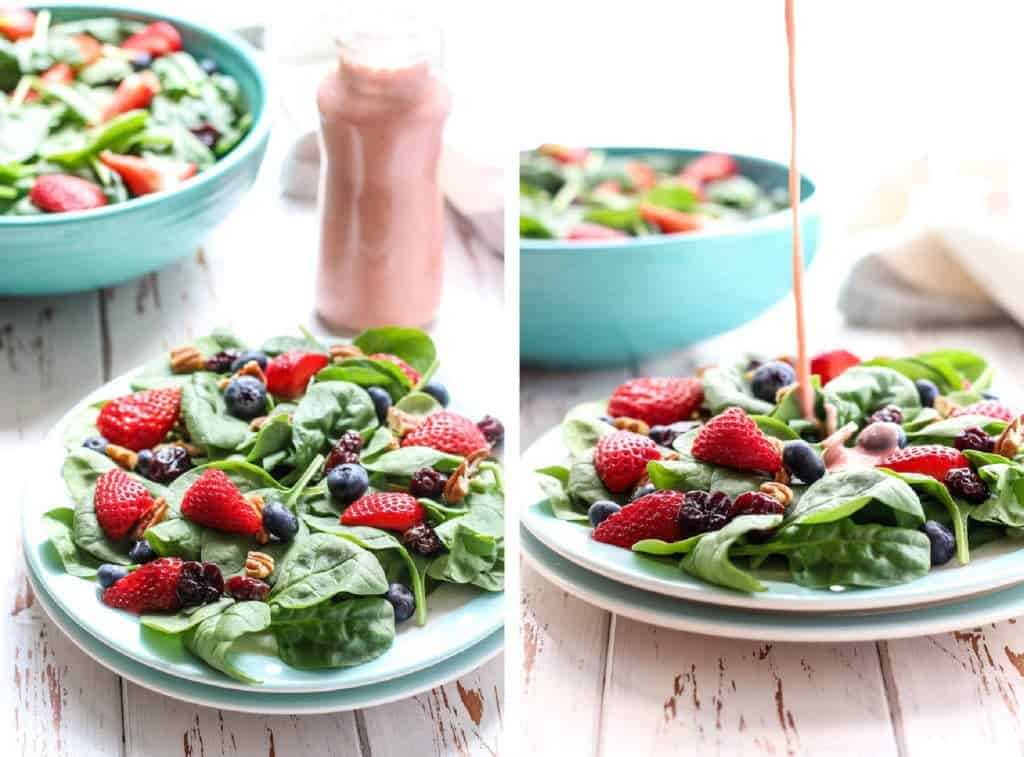 Summer Berry Spinach Salad with a paleo & vegan strawberry vinaigrette