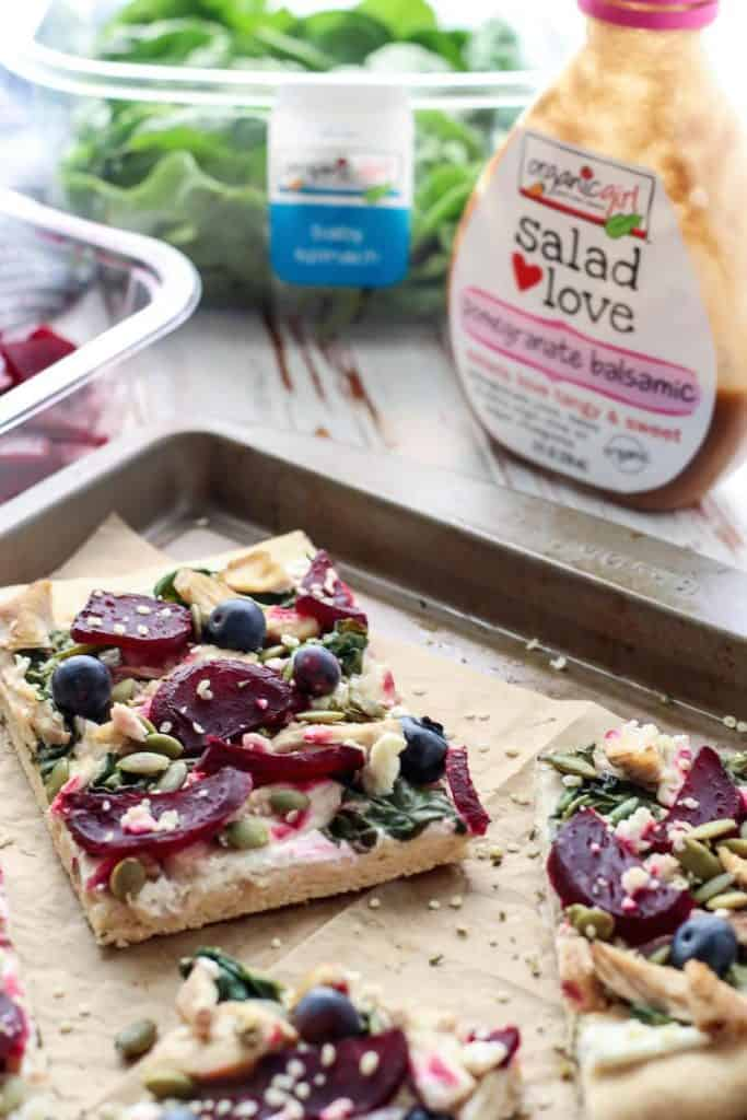 Pomegranate Balsamic Chicken Beet Goat Cheese Flatbread. All the flavors in this are so amazing!