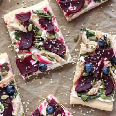 Pomegranate Balsamic Chicken Beet Goat Cheese Flatbread