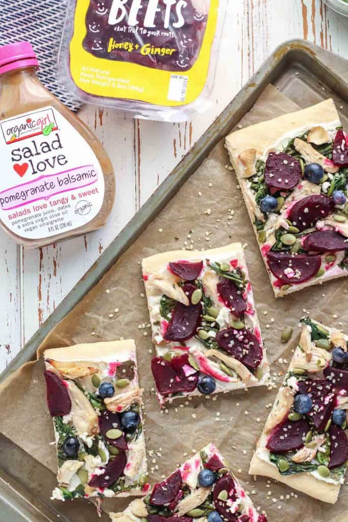 Pomegranate Balsamic Chicken & Beet Goat Cheese Flatbread