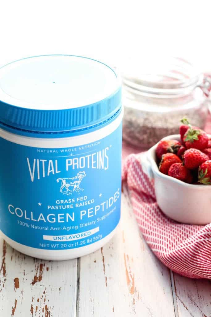 Strawberry Chia Seed Protein Pudding made with collagen peptides from Vital Proteins. [ This post is sponsored by Vital Proteins. All opinions are 100% my own. ]