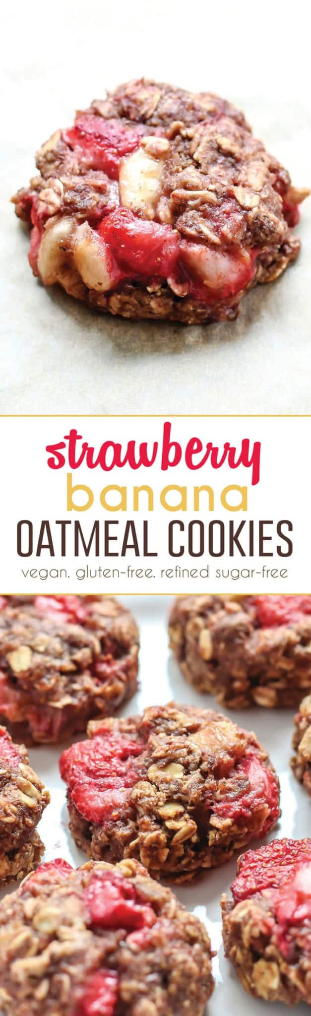 These healthy Strawberry Banana Oatmeal Cookies are packed with flavor. Plus they're vegan, gluten-free friendly, and refined sugar-free. The perfect snack or healthy start to your day.