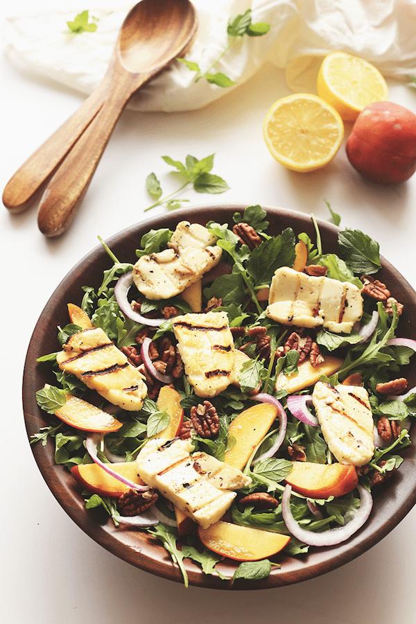 Arugula Peach and Halloumi Salad [ summer salads ]