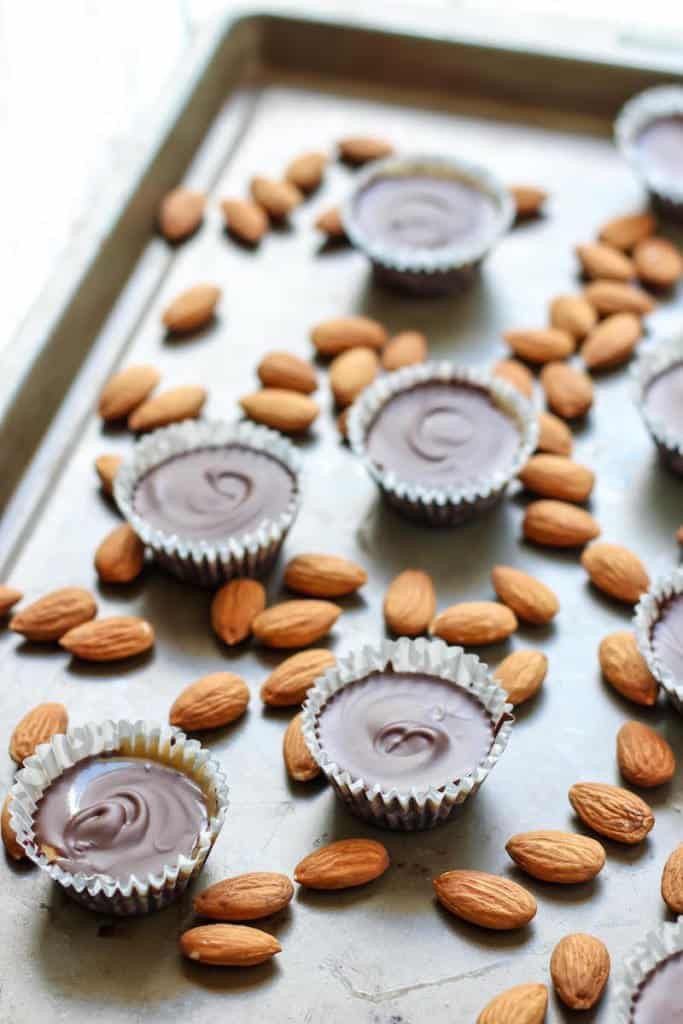 Healthy Chocolate Caramel Almond Butter Cups. 3 ingredients and 15 minutes!