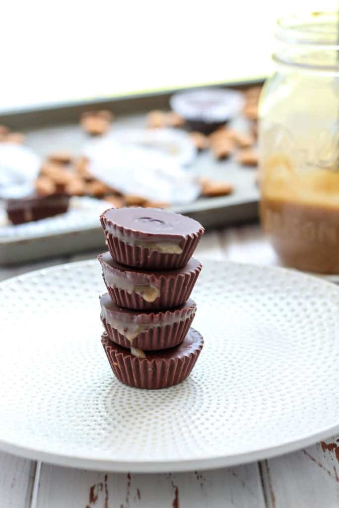 Three ingredients and just 15 minutes for these healthy Chocolate Caramel Almond Butter Cups! Gluten-free and vegan-friendly.