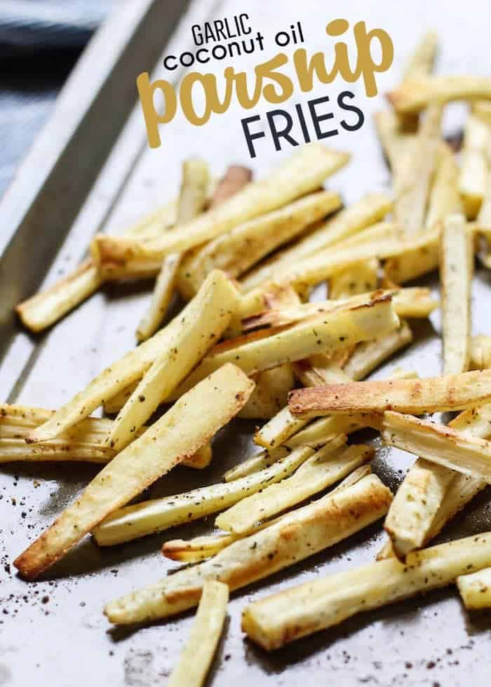 We're using a garlic infused coconut oil to make these healthy roasted parsnip fries! The flavor is incredible and you may want to eat the whole pan.