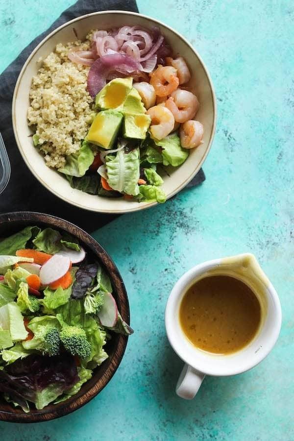 Honey Dijon Shrimp Quinoa Salad [ summer salads ]